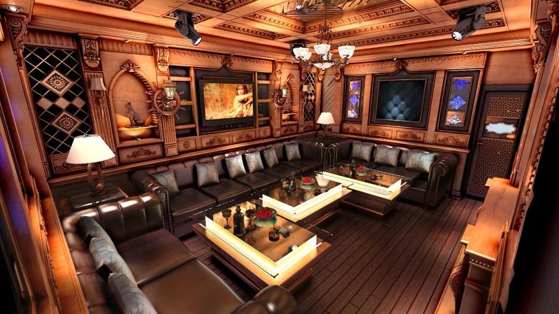 Phòng hát karaoke phong cách gỗ tự nhiên đẹp