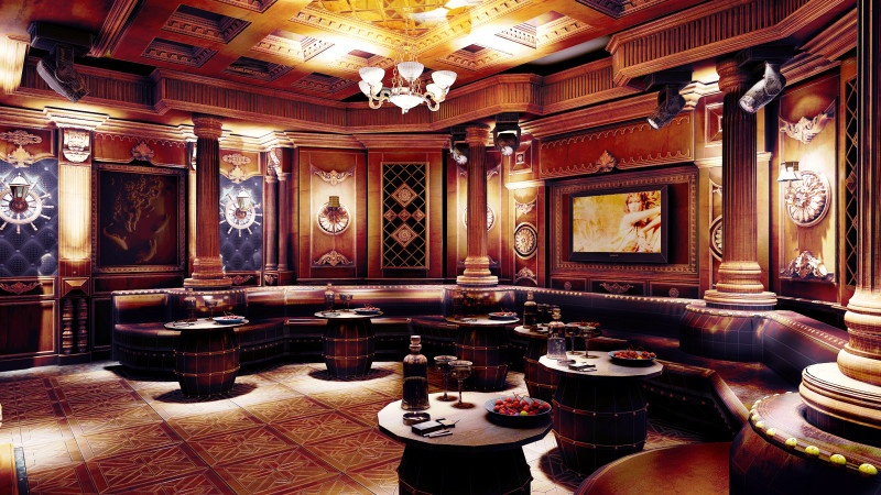 Phòng hát karaoke gia đình làm bằng gỗ diện tích rộng